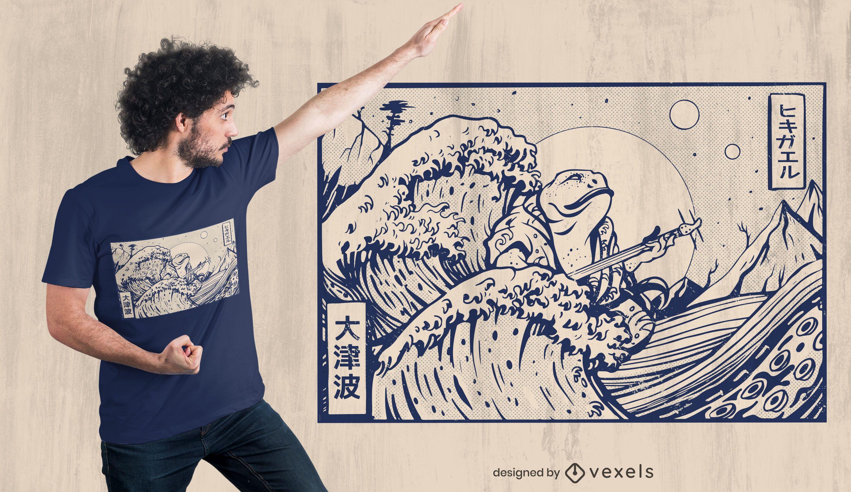 Diseño de camiseta de sapo japonés