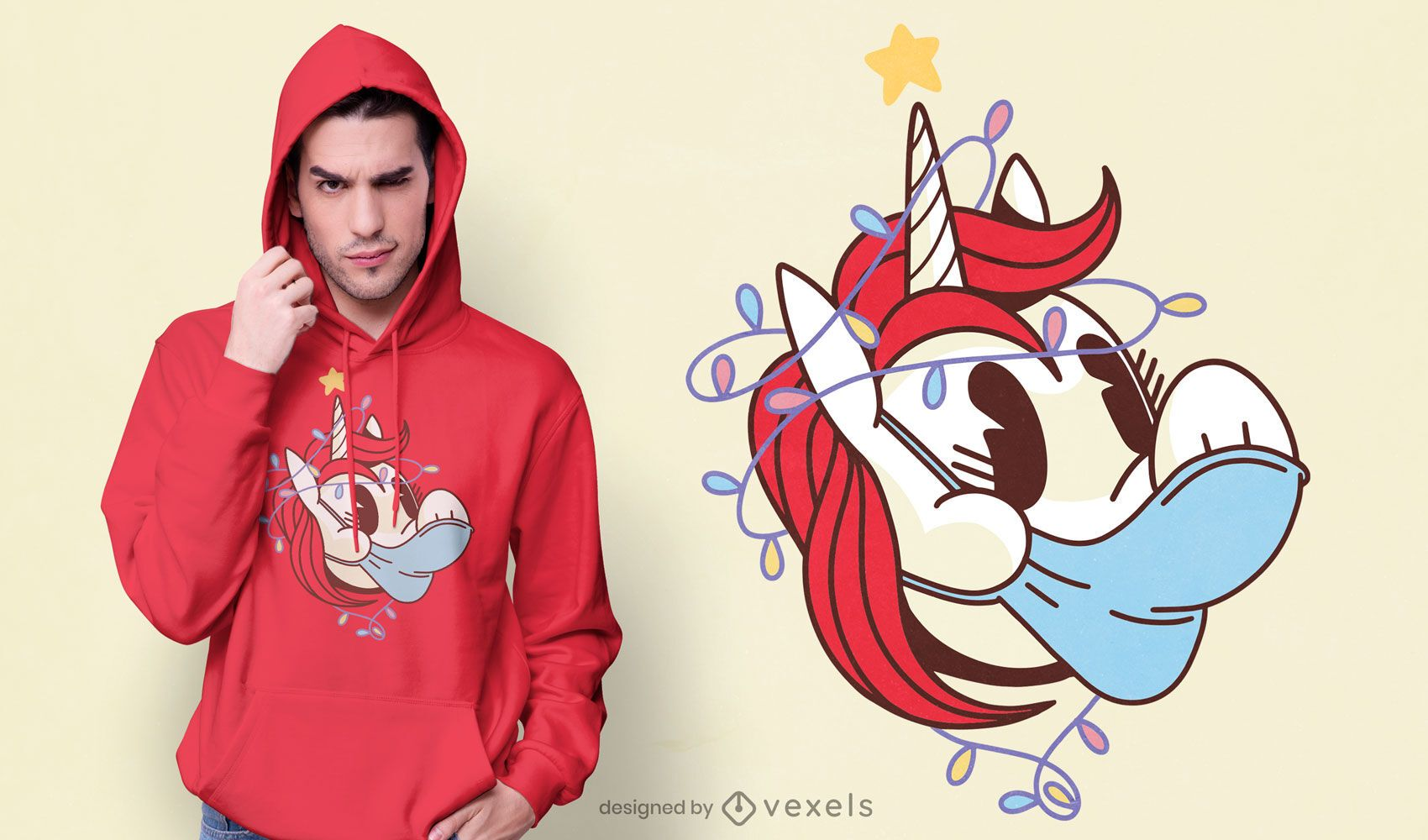 Diseño de camiseta unicornio covid