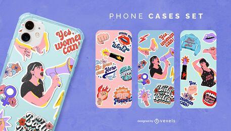 Conjunto de caja de teléfono del día de la mujer