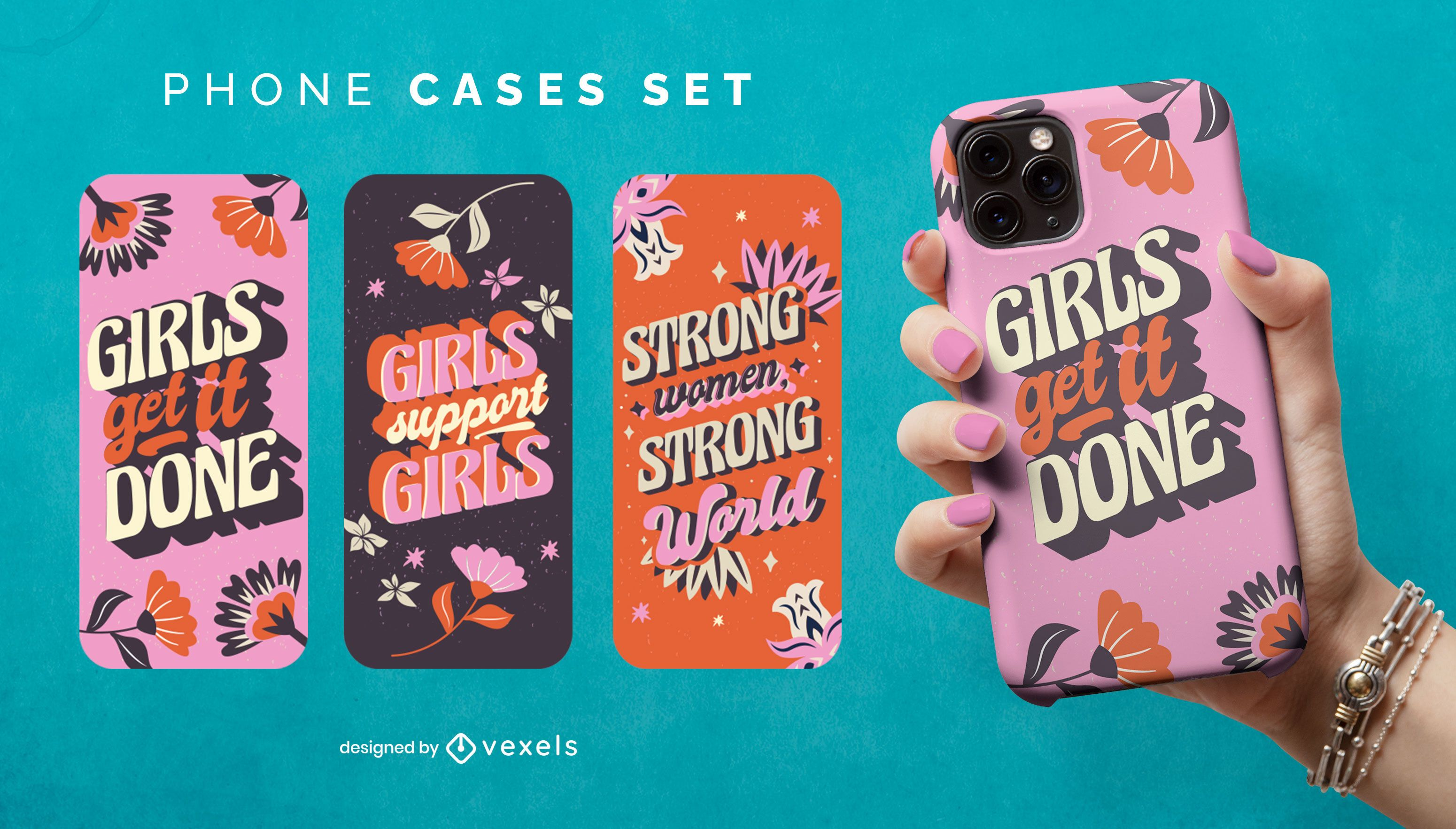 Women's day quote phone case set