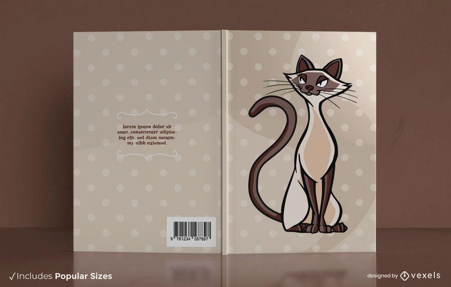 Diseño de portada de libro de gato siamés
