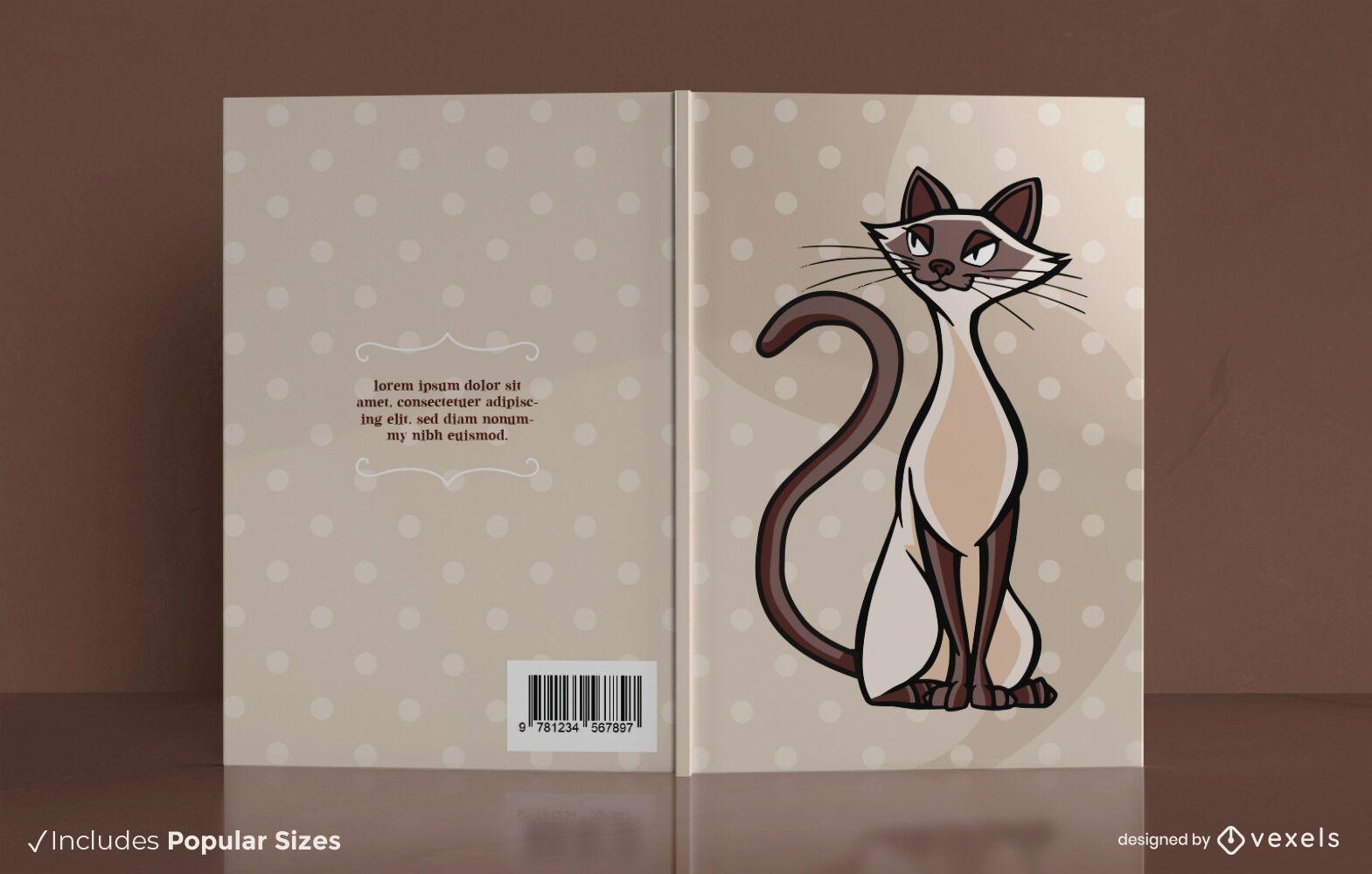 Design da capa do livro do gato siamês