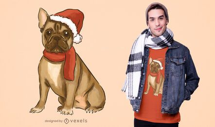 Christmas french bulldog t-shirt design