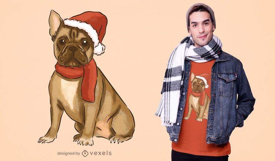 Diseño de camiseta de bulldog francés de navidad