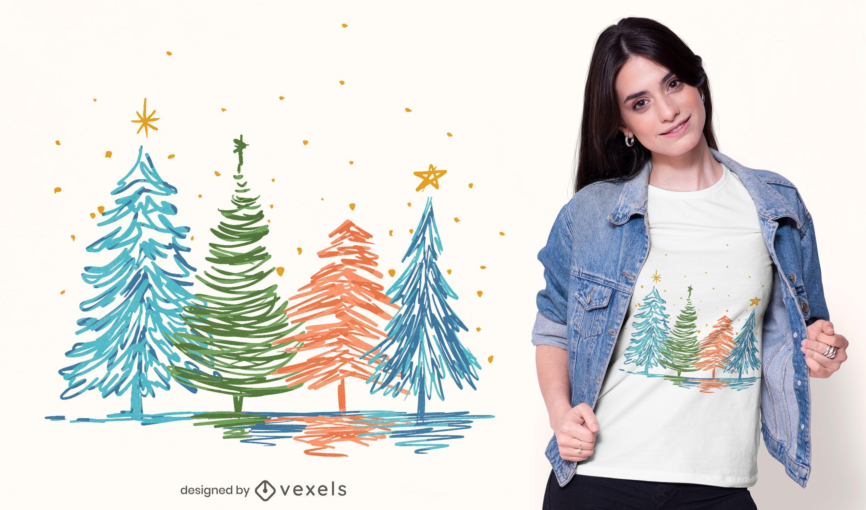 Camiseta de árvores de Natal desenhada à mão