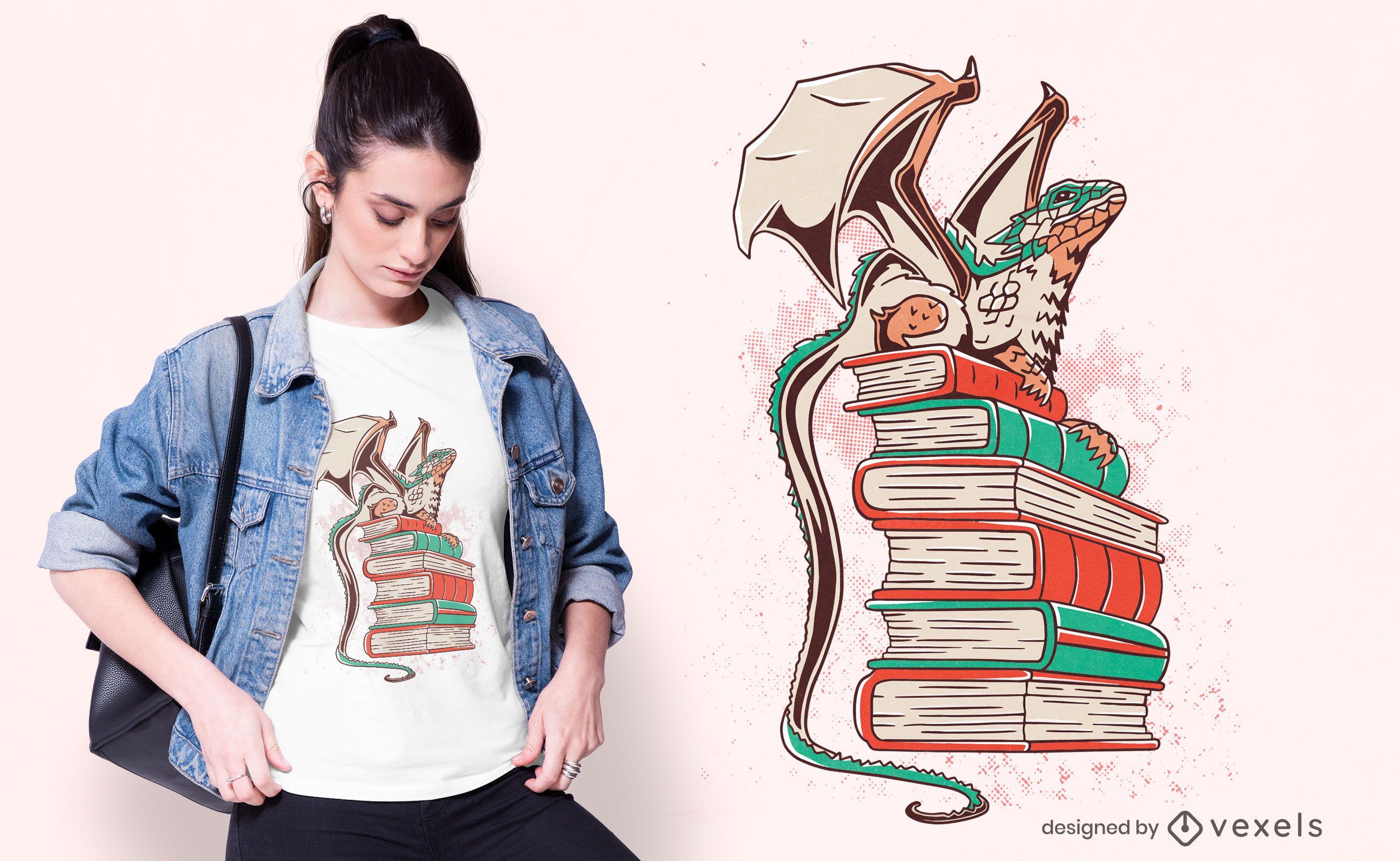 Diseño de camiseta dragon books