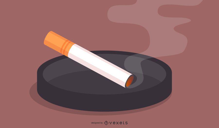 Cenicero con vector libre de cigarrillo encendido