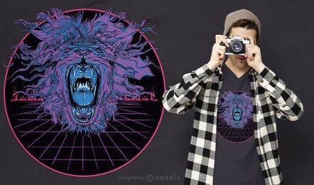 Diseño de camiseta Vaporwave Lion