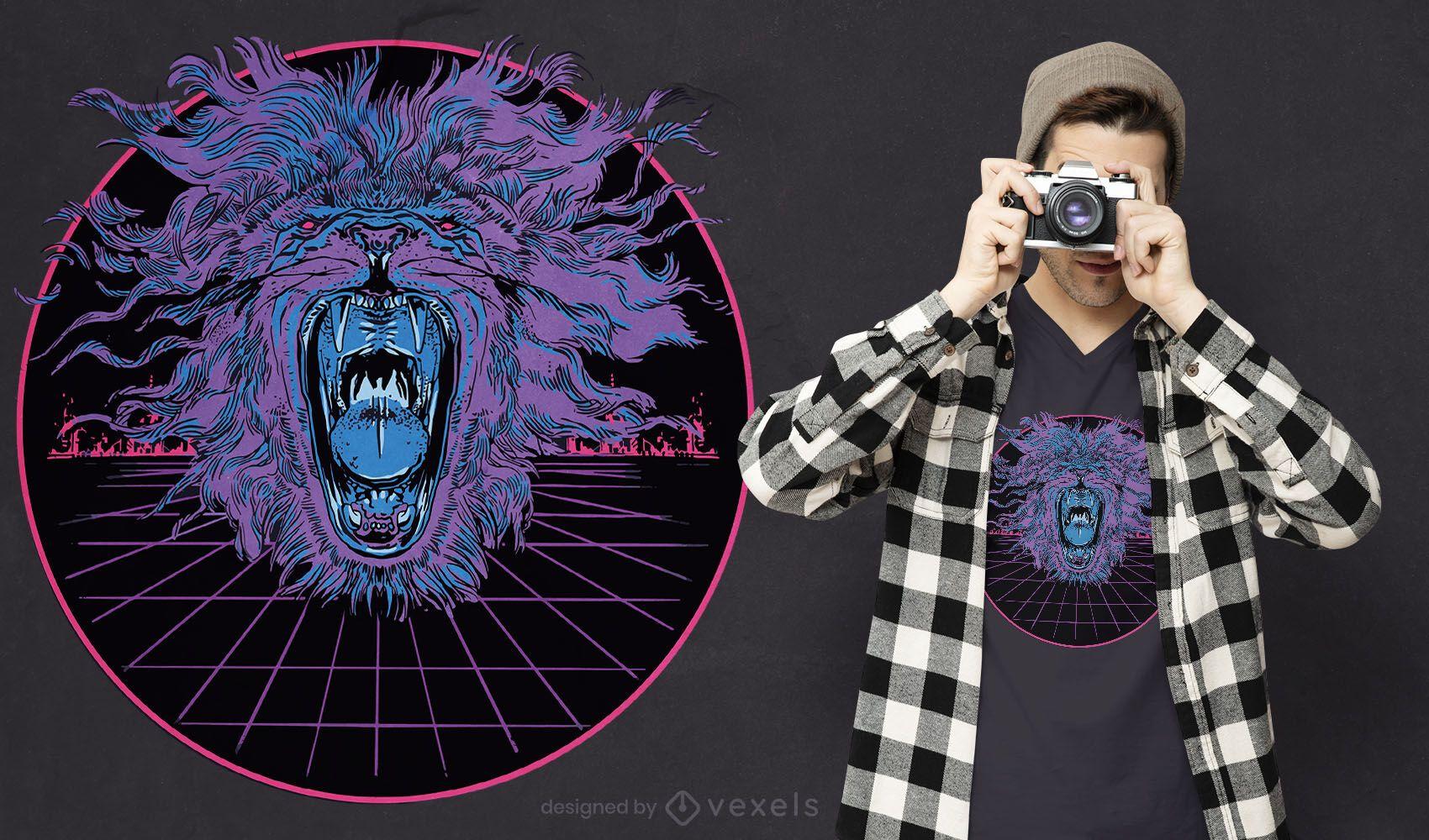 Vaporwave lion t-shirt design