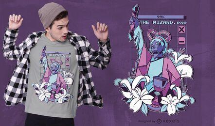 Diseño de camiseta de mago vaporwave
