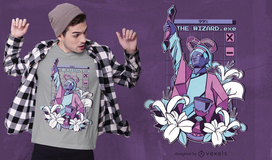 Vaporwave wizard t-shirt design
