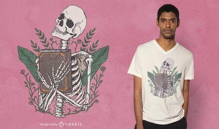 Esqueleto com design de t-shirt de livro