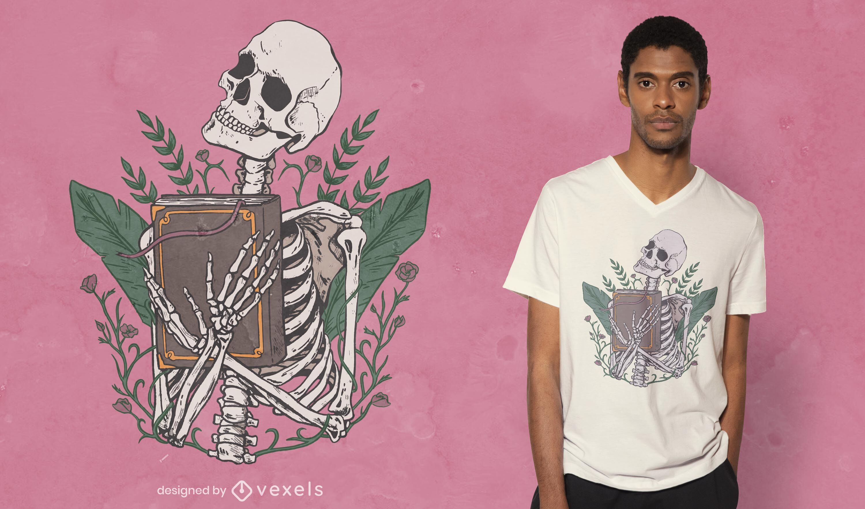 Skeleton with book t-shirt design