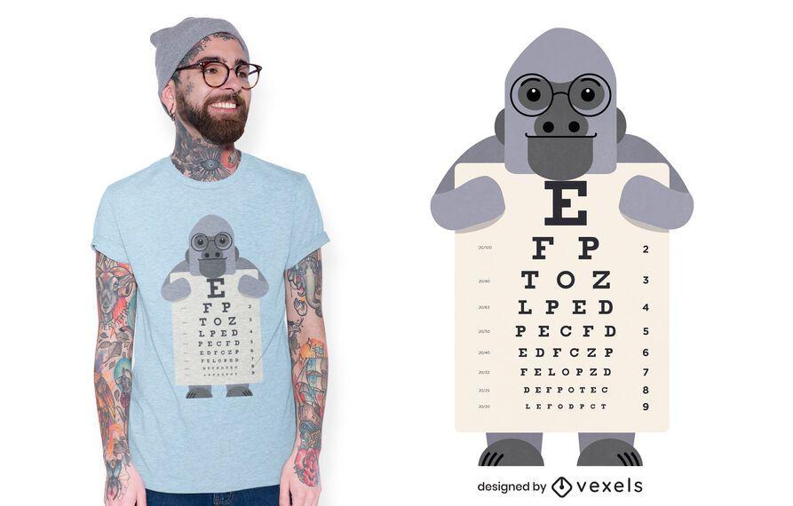 Diseño de camiseta de gráfico ocular de gorila
