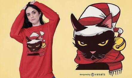 Diseño de camiseta de Navidad de gato enojado
