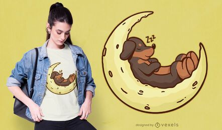Diseño de camiseta Dachshund Moon