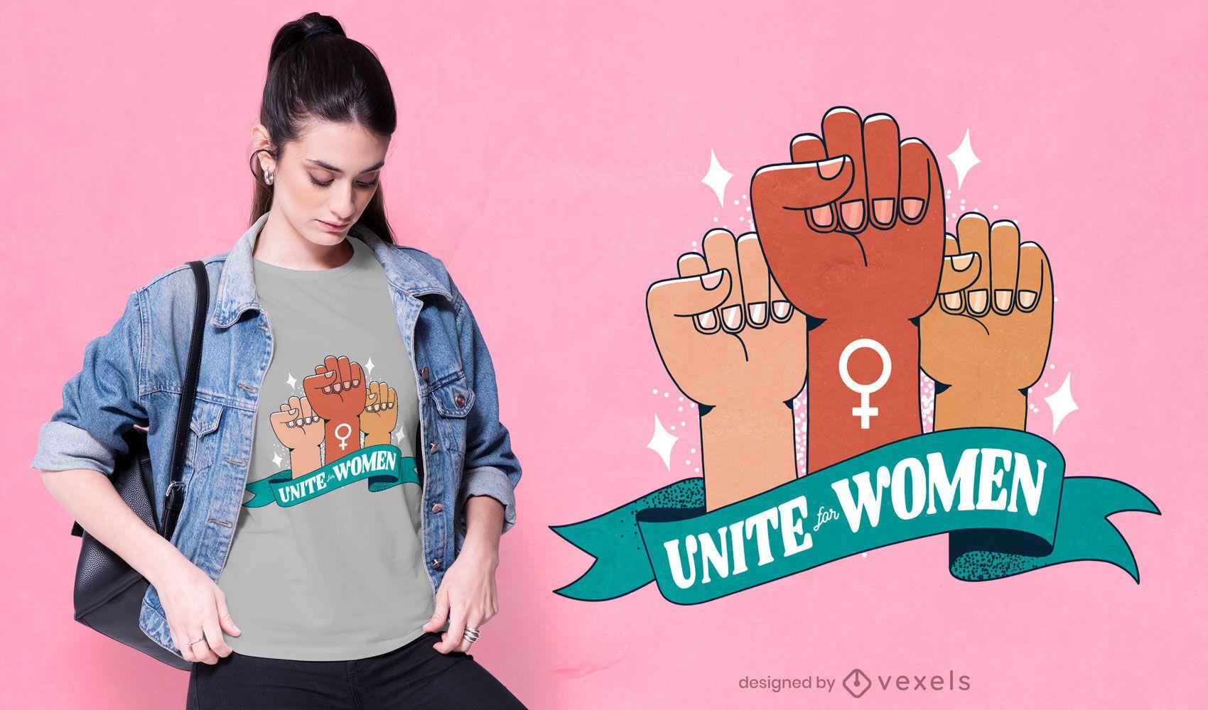 Unite women fists t-shirt design