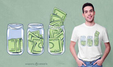 Diseño de camiseta de tarros de billetes de dólar