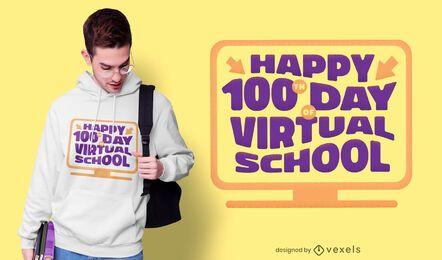 Diseño de camiseta de escuela virtual.