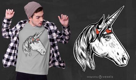 Desenho de t-shirt unicórnio desenhado à mão