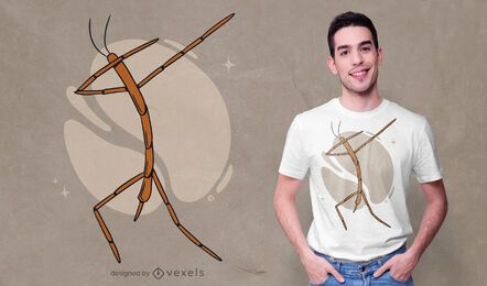 Diseño de camiseta dabbing stick bug