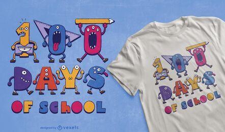 Design de camisetas para 100 dias de escola