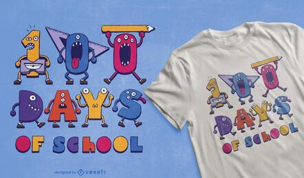 Diseño de camiseta 100 Days of School