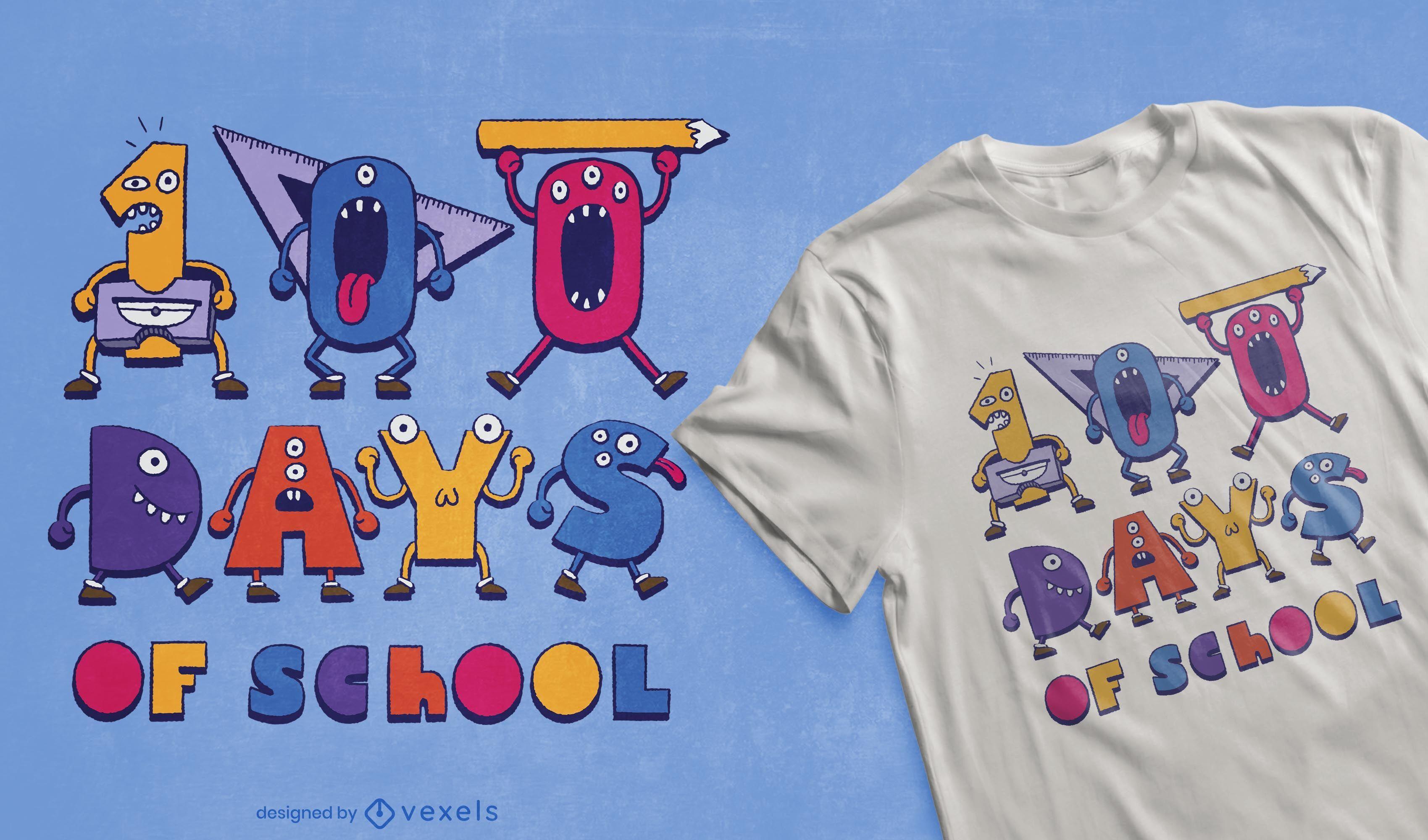 100 Days of School t-shirt design
