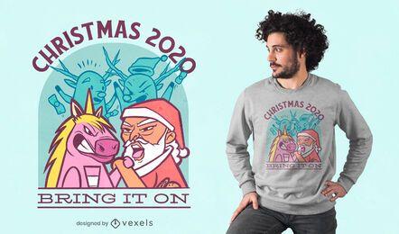 Diseño de camiseta Unicorn vs Santa