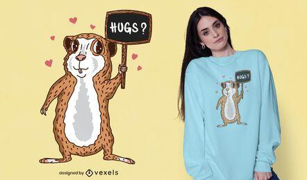 Diseño de camiseta de abrazos de conejillo de indias