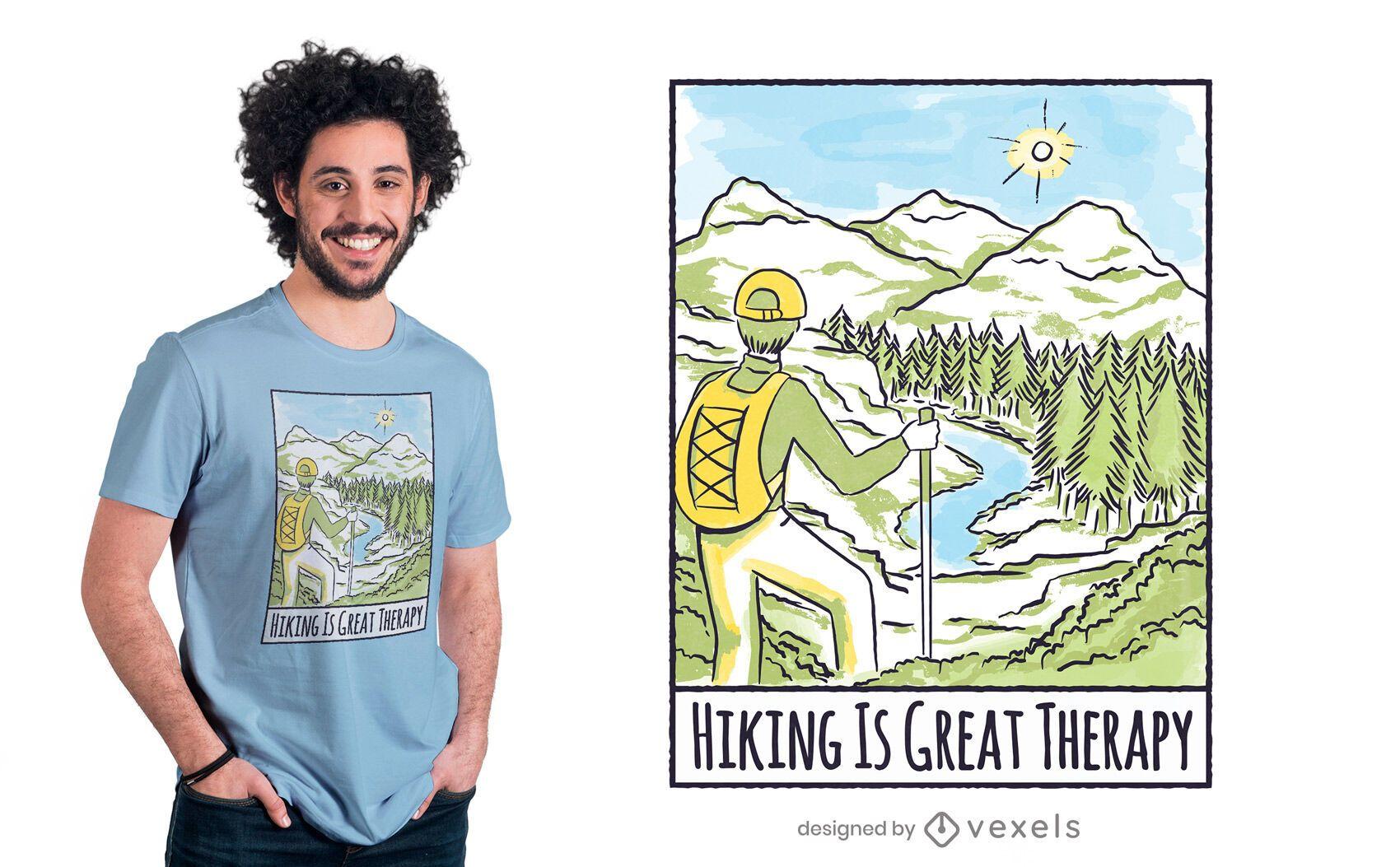 Diseño de camiseta de senderismo es terapia.