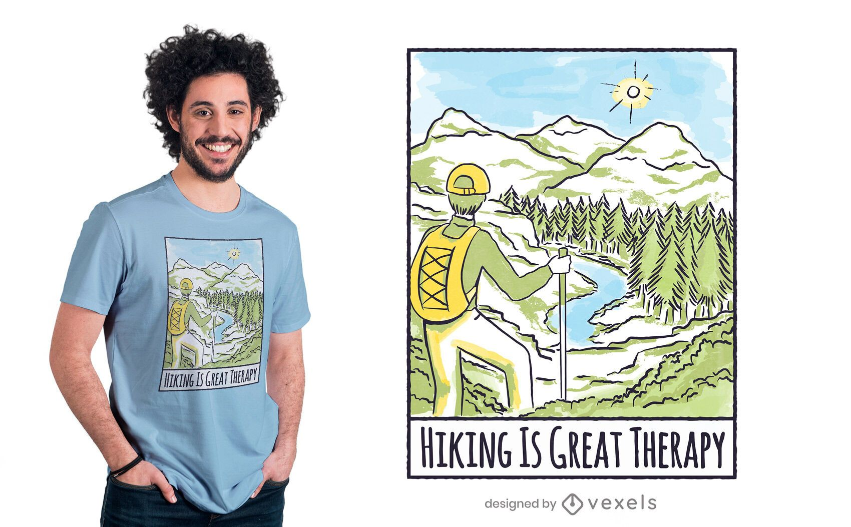 Hiking is therapy t-shirt design