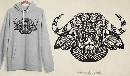 Design de t-shirt de boi tribal