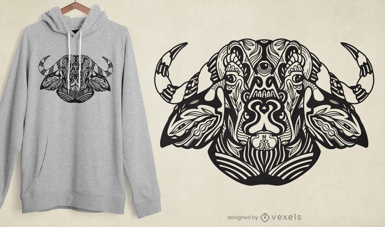 Diseño de camiseta de buey tribal