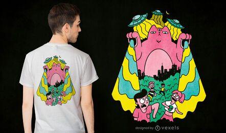 Diseño de camiseta de gato alienígena