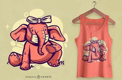 Diseño de camiseta de elefante con máscara facial.