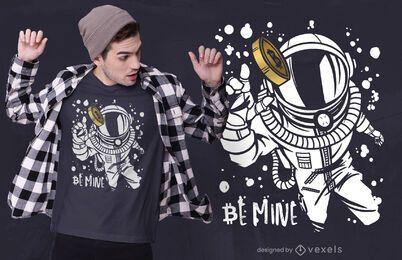 Diseño de camiseta de astronauta de Bitcoin