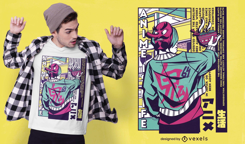 Diseño de camiseta de chico japonés urbano.