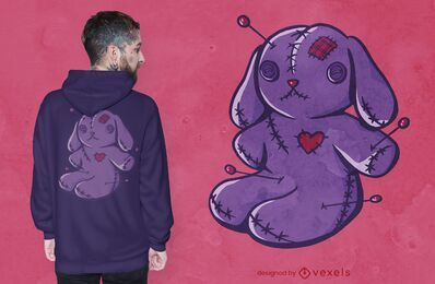 Diseño de camiseta de conejito vudú