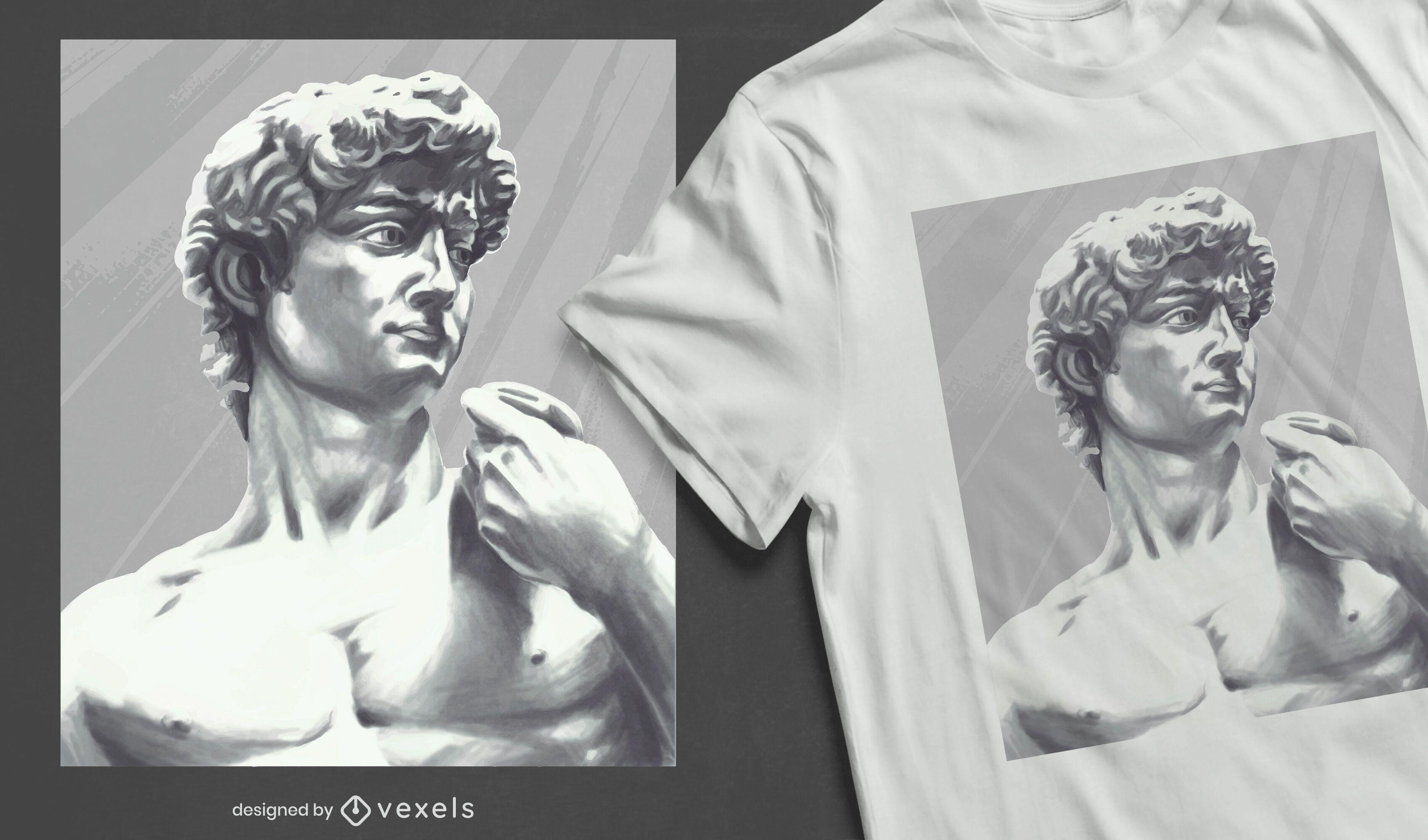 Diseño de camiseta de la estatua de David