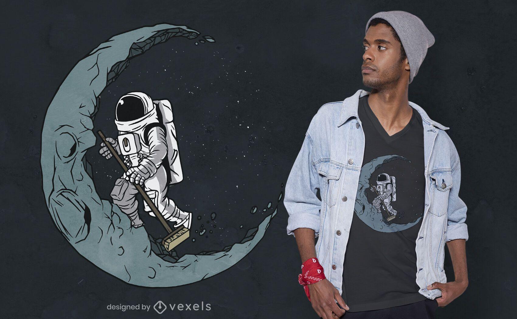 Diseño de camiseta de astronauta de barrido.