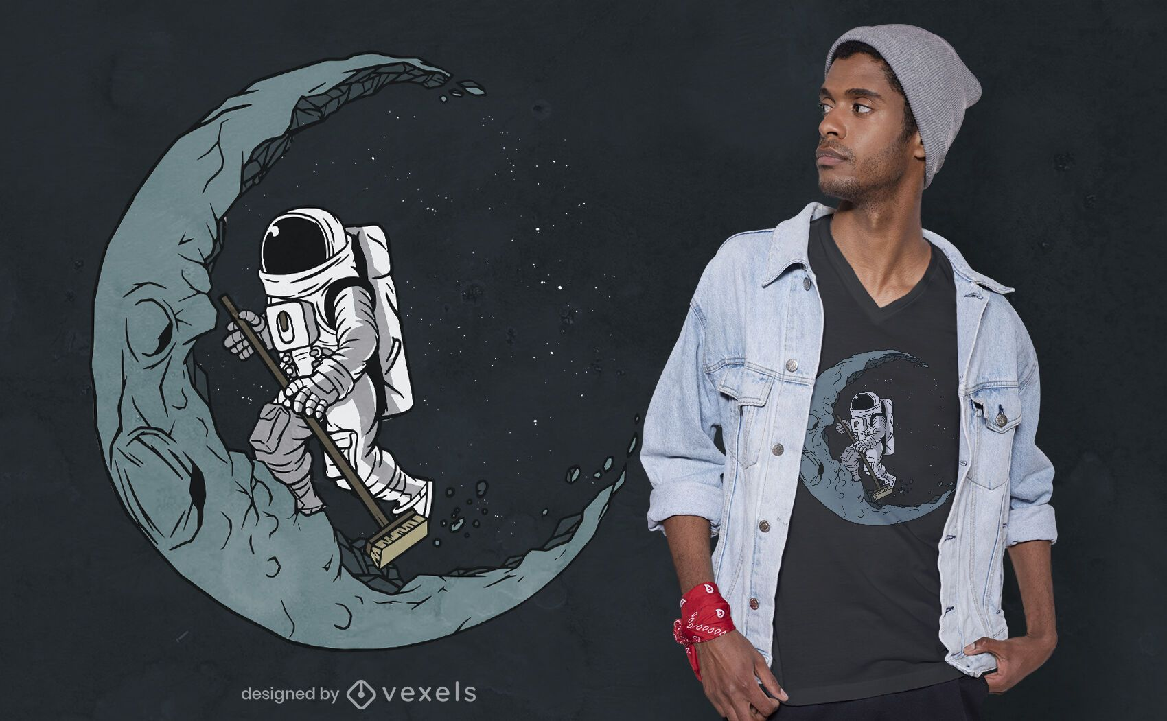 Sweeping astronaut t-shirt design