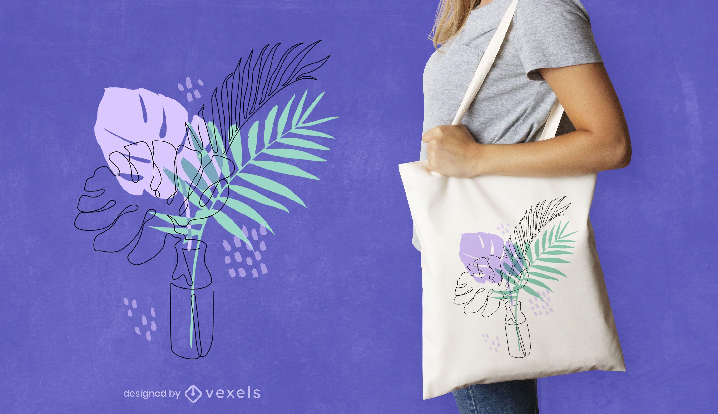 Continuous line vase tote bag design