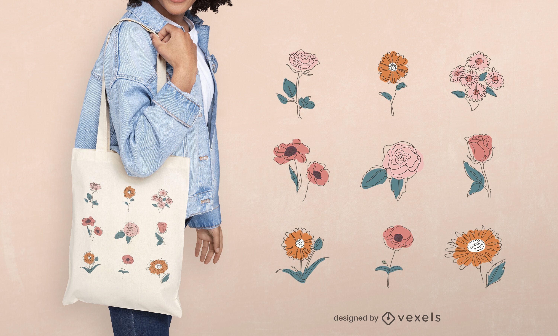 Diseño de bolso de mano con flores