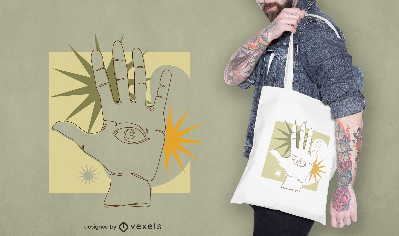 Continuous line hand tote bag design