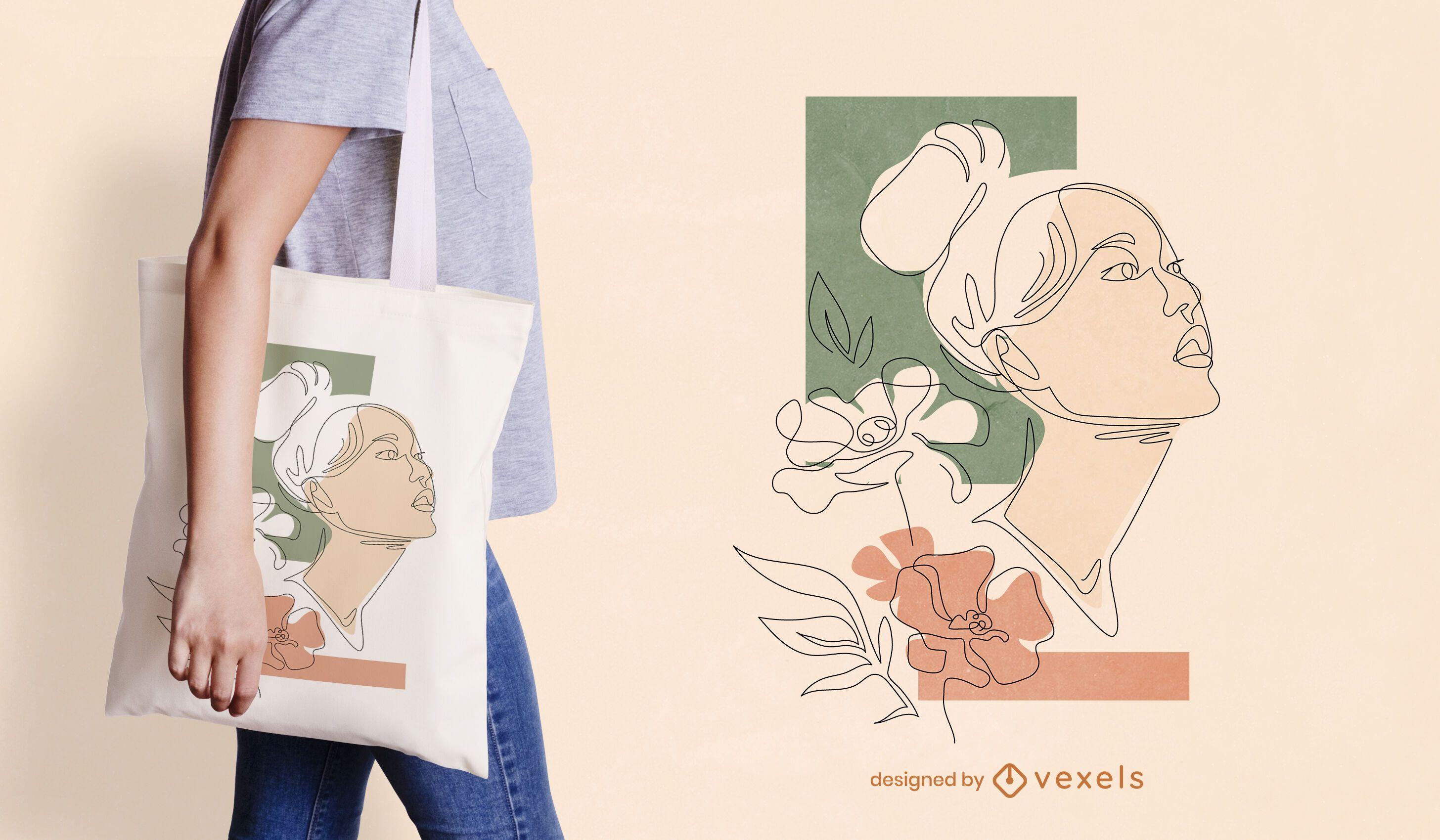 Continuous line woman tote bag design
