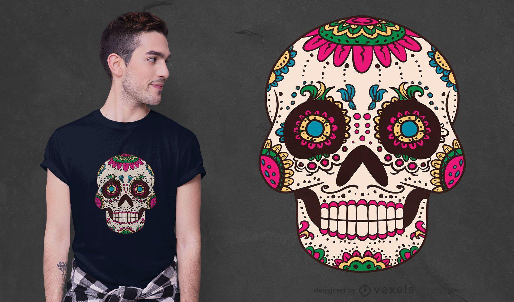 Diseño de camiseta de calavera de azúcar