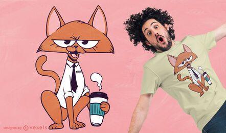 Diseño de camiseta de dibujos animados de gato de café