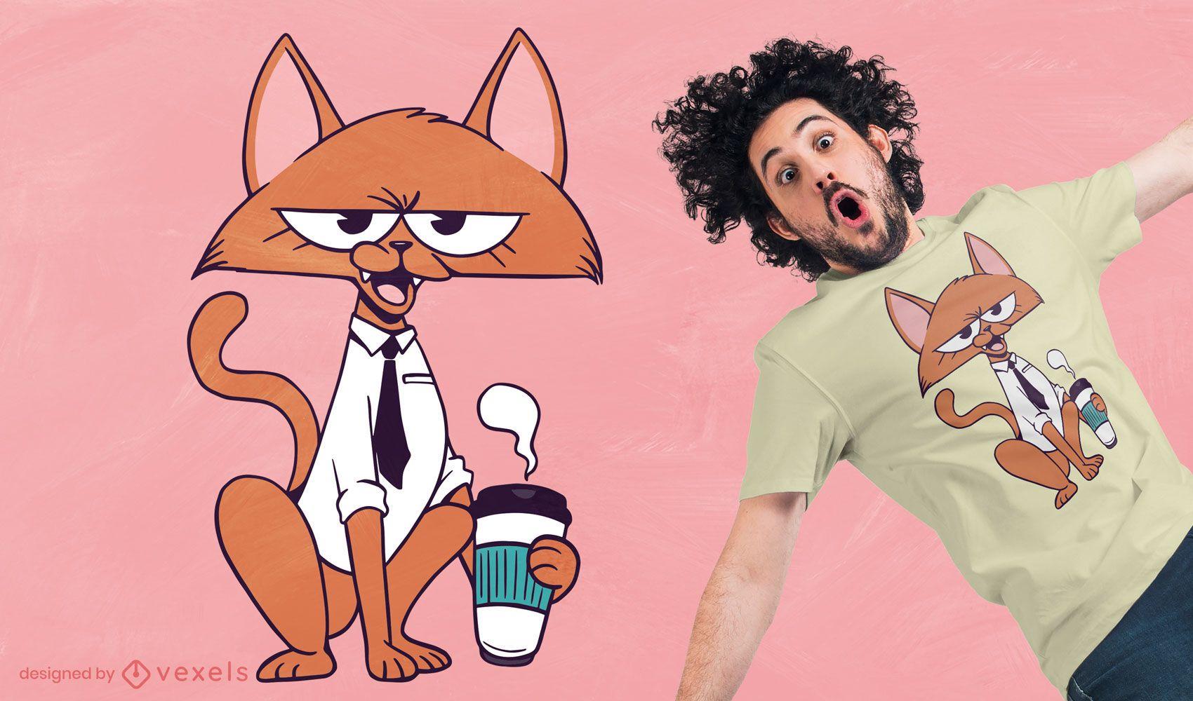Coffee cat cartoon t-shirt design
