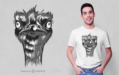 Design de camiseta com cabeça de avestruz